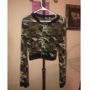 Tops - Sheer camo zip up jacket